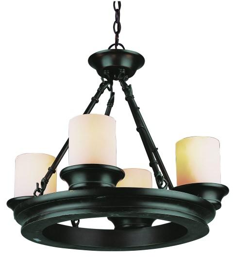 Four Light Rubbed Oil Bronze Tea Stain, Heavy Candle Glass Candle Chandelier