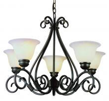 Trans Globe 6395 ROB - Five Light Rubbed Oil Bronze White Marbleized Glass Up Chandelier