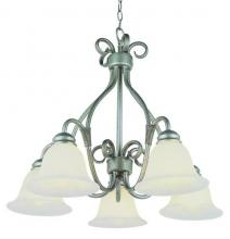 Trans Globe 6396 ROB - Five Light Rubbed Oil Bronze White Marbleized Glass Down Chandelier