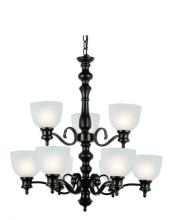 Trans Globe 7299 ROB - Nine Light Rubbed Oil Bronze White Frosted Glass Up Chandelier
