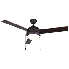 "Canarm CF48CA33ORB - CFan 48"", Spec. Calibre III ORB, 3 Rev Blades, Walnut / Medium Oak, Dual Mount, 2x60W Type A"