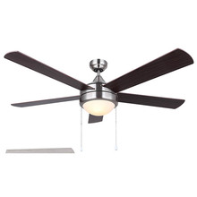 "Canarm CF52PR35BN - CFan 52"", PRESTON III BN, 5 Rev Blades, Silver Oak/ Walnut, Dual Mount, Pull Chains, 2x60W Type"