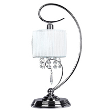 "Canarm ITL328A19CH - Michele, ITL328A19CH, 1 Lt Table Lamp, White Fabric Shade with Crystals, 60 W Type C, 9"" W x 19&"