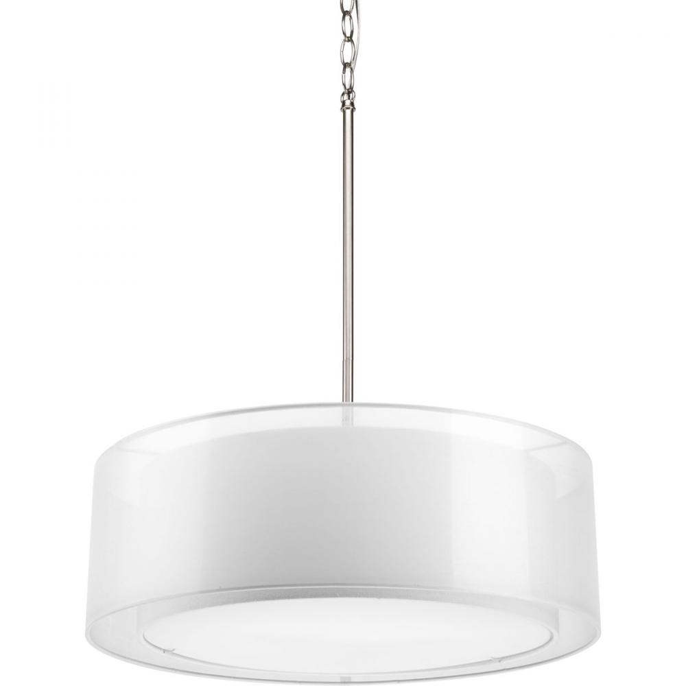 White shade pendant light fixture lighting designs three light brushed nickel white glass drum shade pendant p5037 mozeypictures Gallery