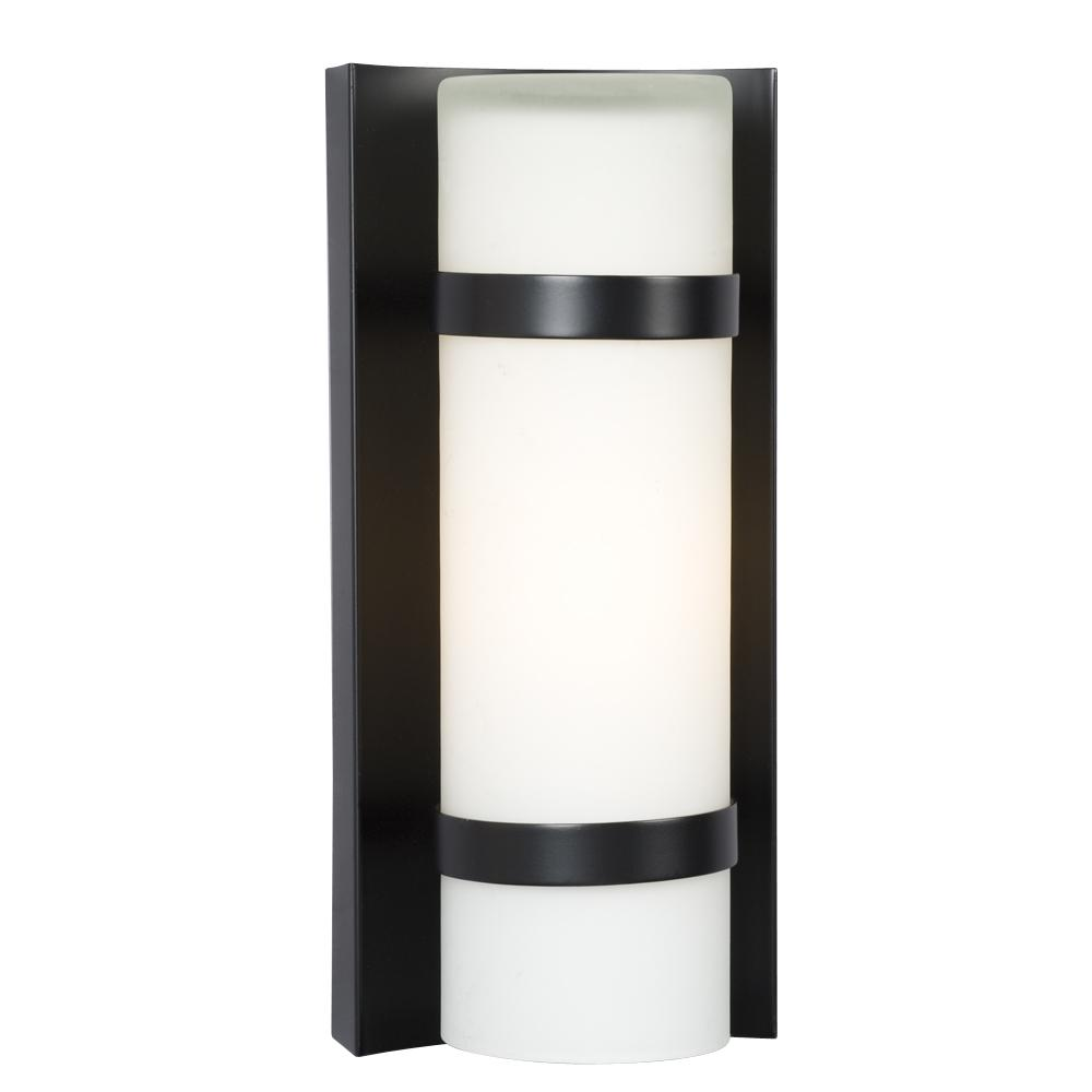1-Light Outdoor/Indoor Wall Sconce - Bronze with Satin White ...