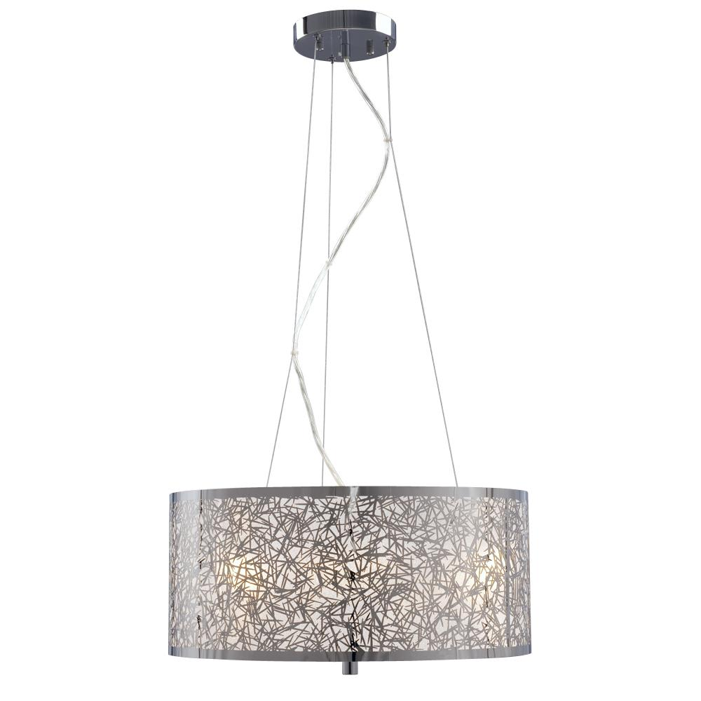 3-Light Pendant in Polished Chrome - Laser-Cut Metal Shade with Glitter Background  sc 1 st  Park Lighting & 3-Light Pendant in Polished Chrome - Laser-Cut Metal Shade with ... azcodes.com