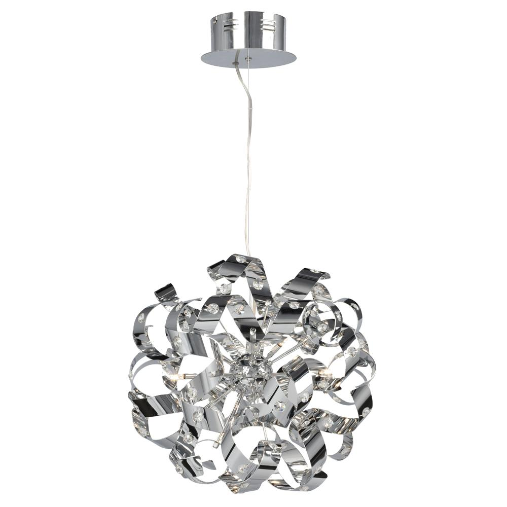 9-Light Pendant in Polished Chrome - Metal Strips with Glass Crystal Detail  sc 1 st  Park Lighting & 9-Light Pendant in Polished Chrome - Metal Strips with Glass ... azcodes.com