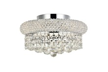 Elegant 1800F12C/RC - 1800 Primo Collection Flush Mount D12in H6in Lt:4 Chrome Finish (Royal Cut Crystals)