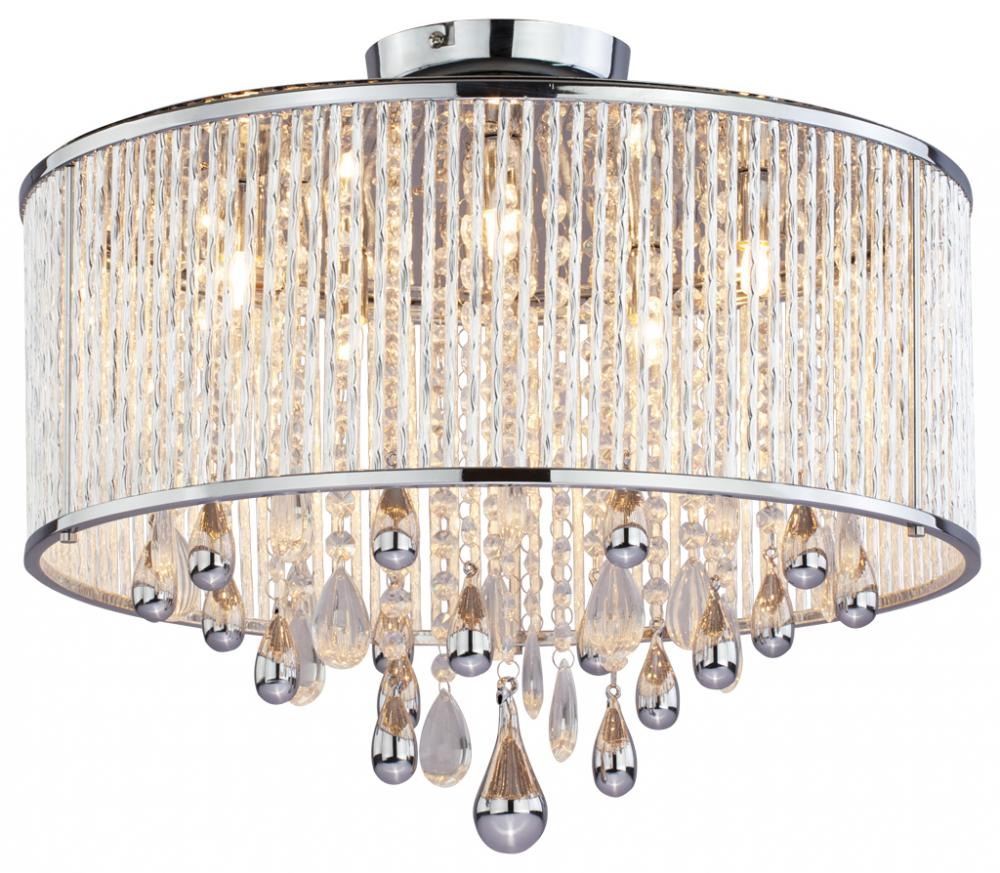 Five light chrome clear crystals glass drum shade semi flush mount five light chrome clear crystals glass drum shade semi flush mount aloadofball Choice Image