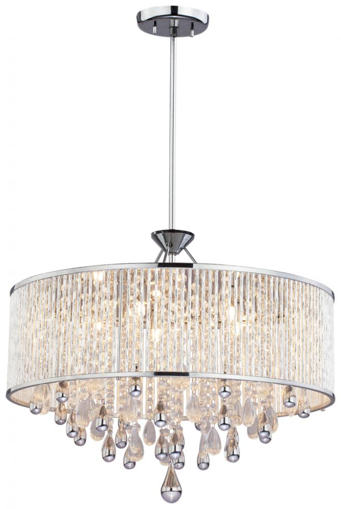 Five light chrome clear crystals glass drum shade pendant five light chrome clear crystals glass drum shade pendant mozeypictures Gallery