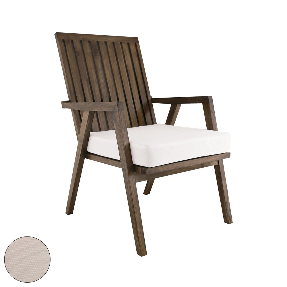 Teak Garden Patio Chair Cushion In Cream 2317014co Park Lighting